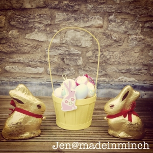 (Basket given by a wonderful sister, Eggs painted by Shani and Bunnies by Lovely Grandparents)